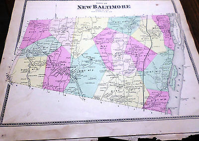 Original 1867 Map Town Of New Baltimore Ny Greene Co