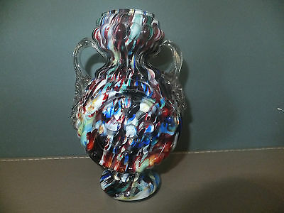 Czech Bohemian Franz Welz Spatter Vase with Applied Clear Handles