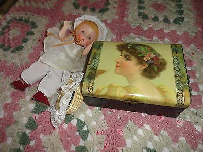 composition doll patsy ette doll   11 inches  antique, and victorian box