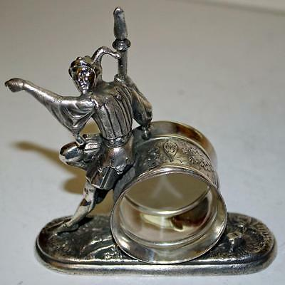 Antique  Figural Napkin Ring: The Jester by Meriden - RARE