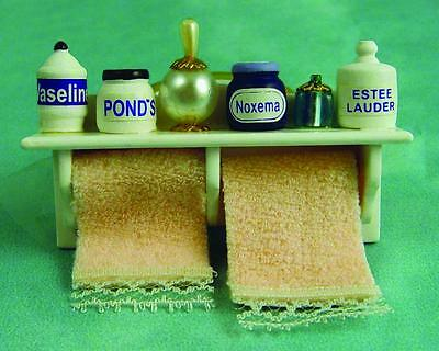 Bathroom Shelf With Accessories  For Dolls House  12Th Scale