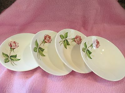 Vintage Knowles China - Tea Rose - USA - Lot of 4 Berry Bowls
