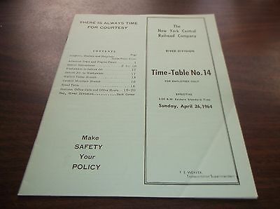 April 1964 Nyc New York Central River Division Employee Timetable #14