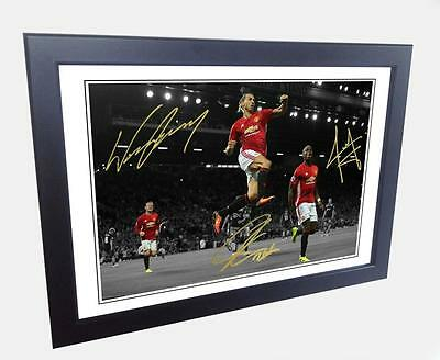 12x8 Signed Ibrahimovic Pogba Rooney Manchester United Photo Photograph Picture