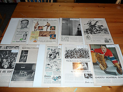 9x Life Magazine Sports Articles 1930-60's Jacques Plante Packers Joe Dimaggio