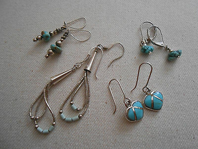 4 Pairs of  Vintage Southwest Sterling Silver Turquoise Earrings  039008