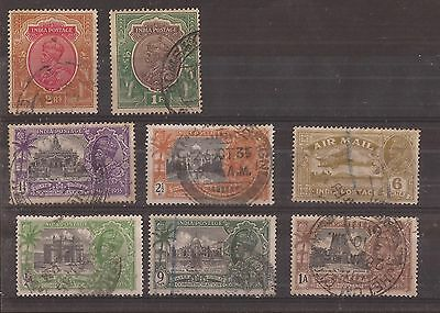 India Kgv 8 Stamps Vfu