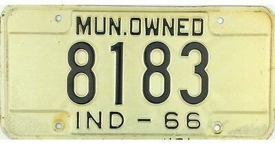 1966 Indiana MUNICIPAL OWNED License Plate #8183