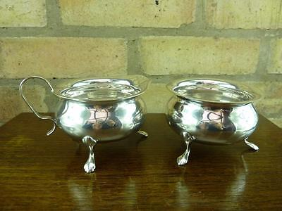 Vintage EPNS Yeoman  sugar bowl and milk cream jug silver plated with feet