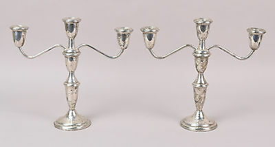Pair Mid-Century Empire Sterling Silver 3-light Candelabra Candle Sticks