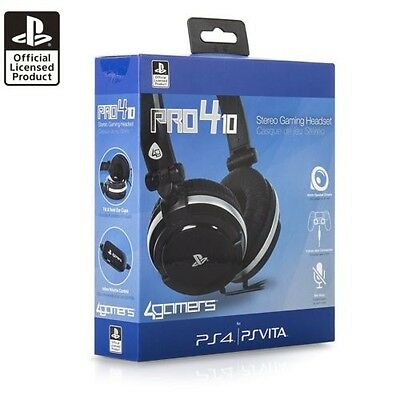 Officially Licensed Black Stereo Gaming Headset Playstation 4 Ps4 Psvita Pro4 10