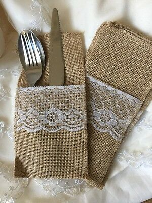 6 Hessian Lace Cutlery Holders Rustic Wedding Table Decoration Accessories