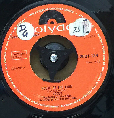 """FOCUS-House Of The King-7"""" Vinyl Single 45rpm Record-Polydor-2001 134-1971"""