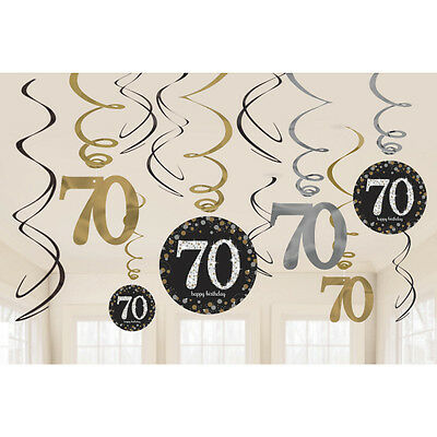 12 x 70TH BIRTHDAY HANGING PARTY SWIRLS BLACK SILVER GOLD DECORATIONS AGE 70
