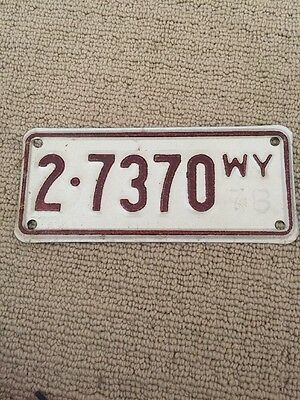 Wyoming Auto License Plate Tag 1978
