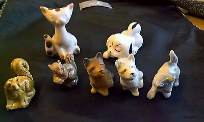 Collection of 7 small animal figurines, 2 Wade.  Vintage.