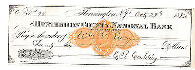 1880 The Hunterdon County National Bank, , New Jersey  With  Revenue Stamp