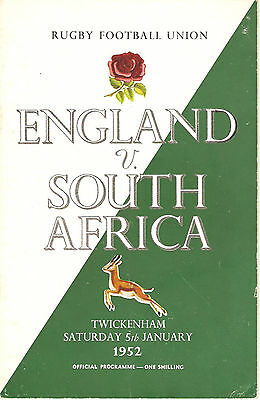 ENGLAND v SOUTH AFRICA 1952 RUGBY PROGRAMME