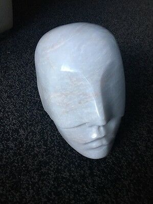 Solid Marble Carved Head Of A Lady Or Bust Very Deco Looking