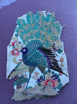 Antique Embroidery From China Peacock Silk Applied To Paper