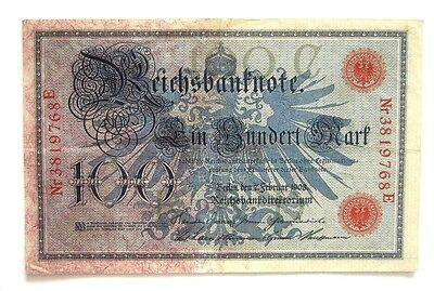 Banknote Germany 100 Mark 07.02.1908 Good Condition