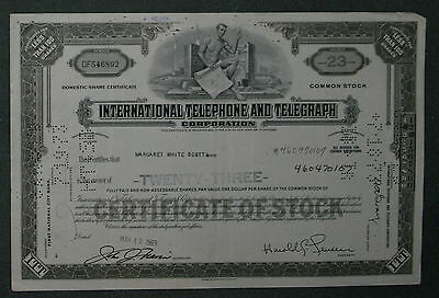 International Telephone and Telegraph Corporation 1969 23 Shares .