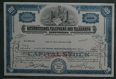International Telephone and Telegraph Corporation 1965 100 Shares .