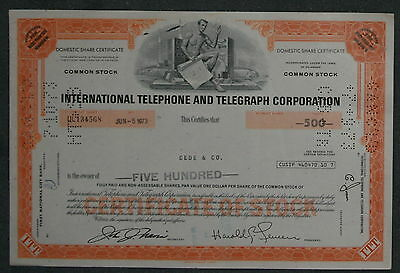International Telephone and Telegraph Corporation 1973 500 Shares .