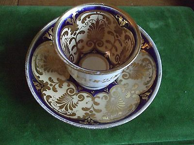Antique Ridgway Cup & Two Saucers Gold & Blue