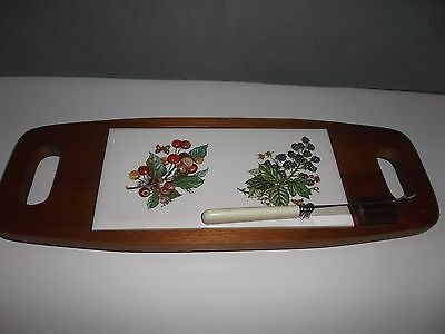 Vintage Cheese Board And Knife With Painted Tile By T & R Boote & Son