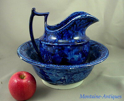 Antique American Historic Blue Staffordshire Wash Set  c. 1825
