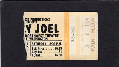 1977 Billy Joel Concert Ticket Stub Seattle Washington An Innocent Man