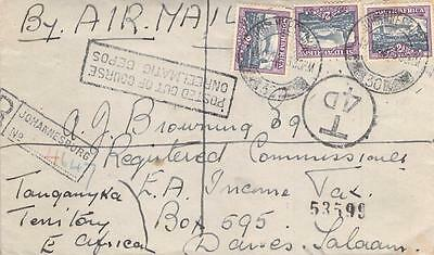 1959 Registered South Africa to Daressalam Tanganyika, Postage Due Stamps