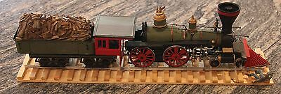 Railroad Train Steam Engine And Tender Hand Painted Model