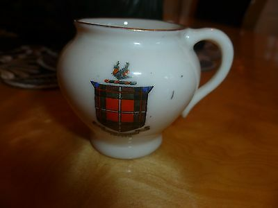 """The Foley China Ivory 2 handle Jug. Coat of Arms for """"Fraser"""""""