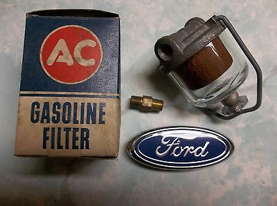Gas Filter Ac Gf 48, Bronze Element, Glass Bowl: 55-63 Ford Trucks, Nos