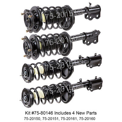 Complete Set New Front & Rear Right & Left Strut Shock Coil Spring Assembly