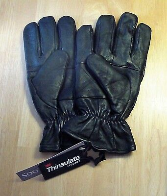 Men's Large Black Leather Gloves - Dress Driving Motorcycle 3M Thinsulate Lined