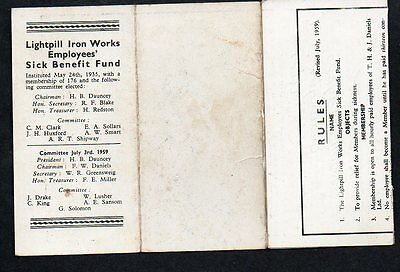 STROUD LIGHTPILL IRONWORKS EMPLOYEES SICK FUND 1935 Rules Card (1959)
