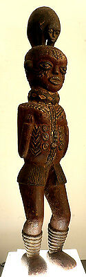 precontact 32 inch Solomon Islands totemic female tiki, Godeffroy Collection