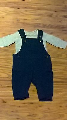 boys 0-3 months blue dungarees with grey bodysuit fab con