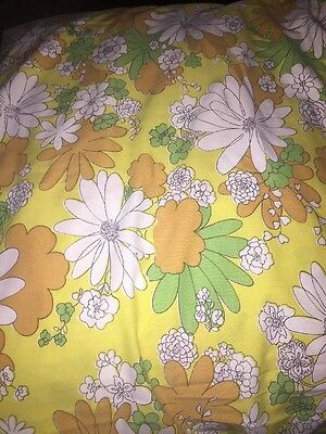 Vintage Canon Monticello Floral Funky Retro Full Size Flat Sheet MCM Mid Century