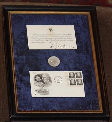 RARE Dwight Eisenhower Framed Silver Dollar -1st Edition Stamp W/ Personal Note