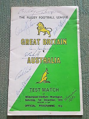 Great Britain Vs Australia Rugby League 1973 Test Match Programme Signed
