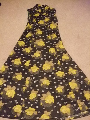 vintage retro 60s 70s dark green yellow floral maxi dress 10 12 dagger collar
