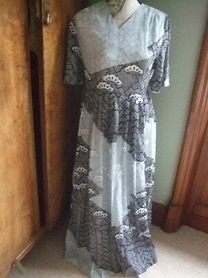 vintage retro 60s 70s black white grey floral maxi pleated dress 12 14 Bowbell