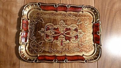 Small Florentine Tole Tray Italy 7 1/2 x 10 3/8 inches Red & Gold