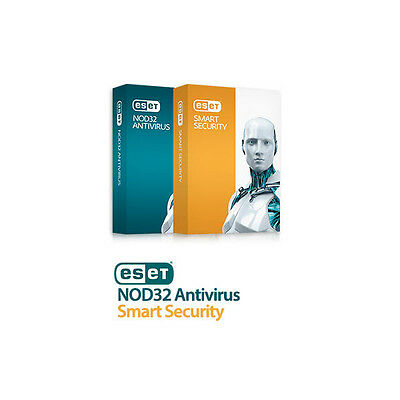 ESET Smart Security 9 / NOD 32 Antivirus nearly 1 year 2pc. No DVD. Most Country