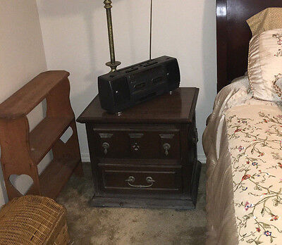 Antique Nightstand Solid Oak Or Walnut Good Condition!