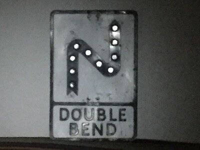 Vintage Aluminium Double Bend Black and White Road Sign - pre Worboys 1960/70's